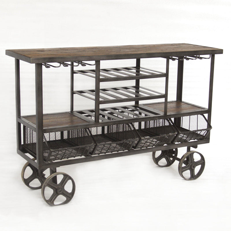 Paxton Reclaimed Teak Bar Cart with Wheels