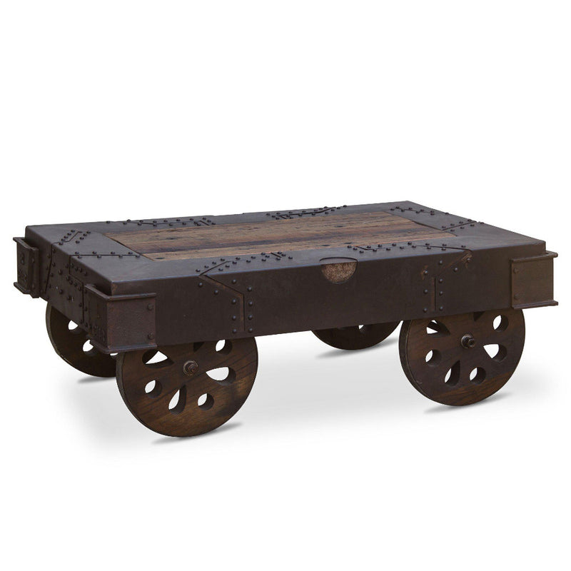 Sterling Reclaimed Iron Wheeled Coffee Table