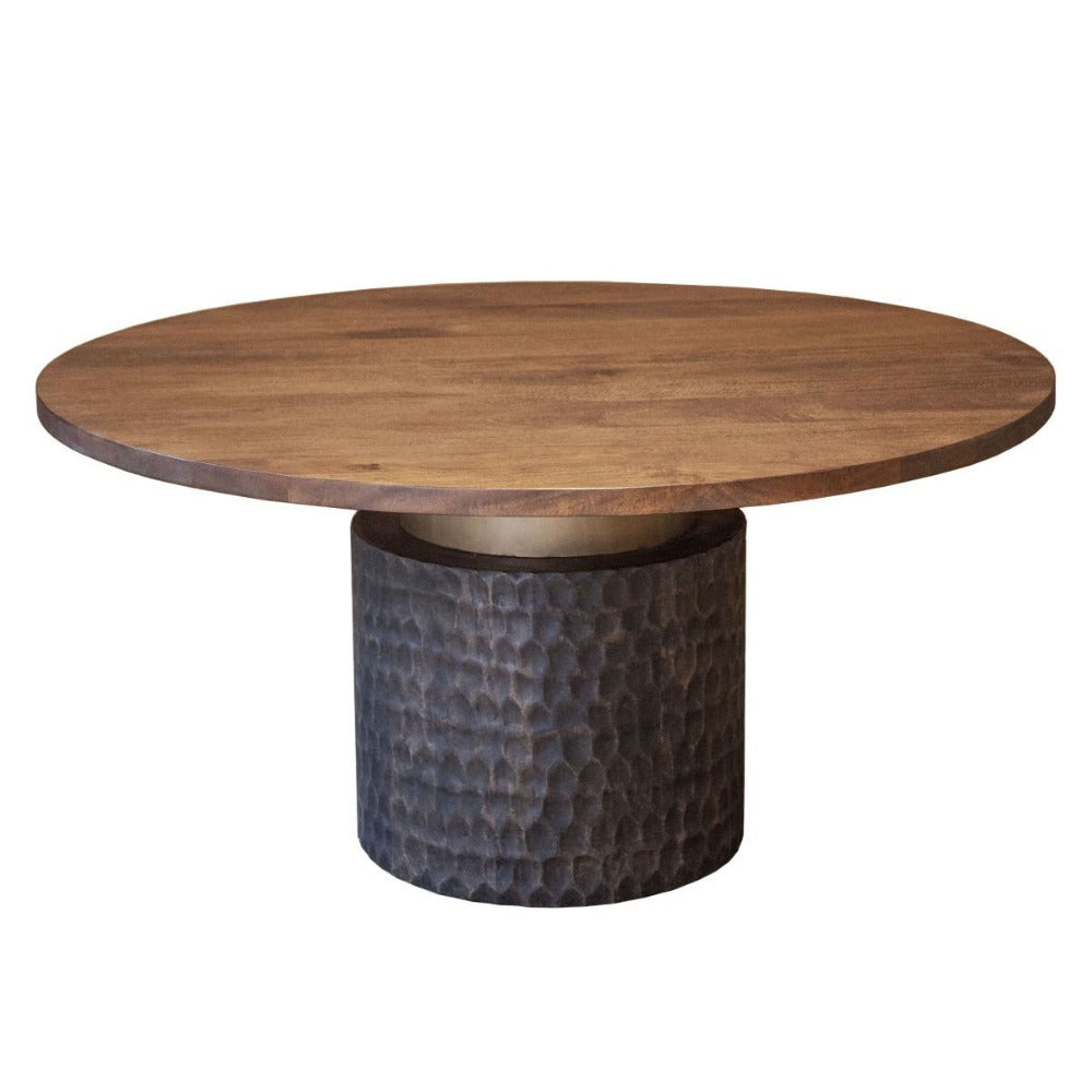 Vallarta Carved Wood Round Dining Table