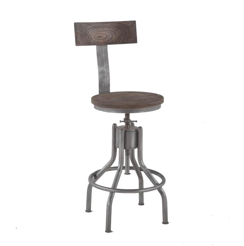Artezia Industrial Adjustable Teak Stool