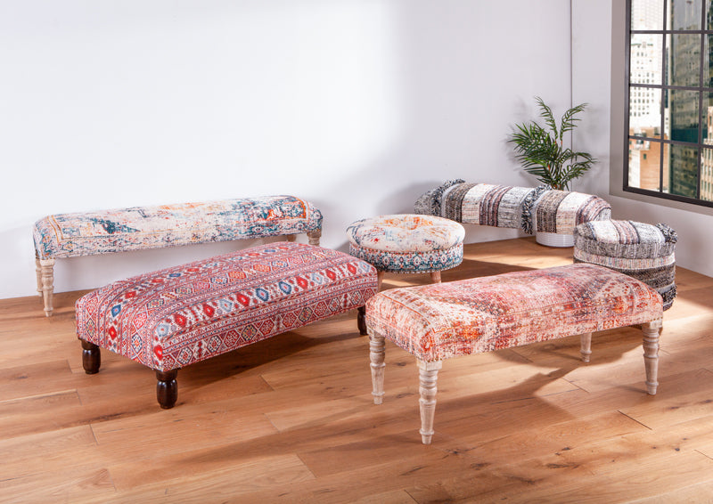 Algiers upholstered stools and benches