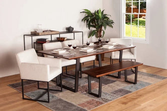 Mapai dining table and bench with rebel dining chairs