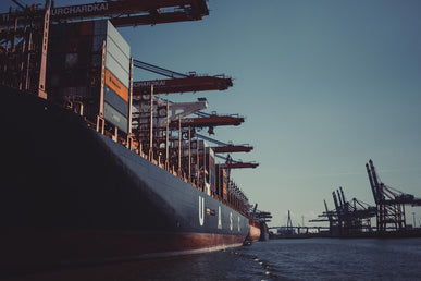 Cargo ship waiting to dock at a port