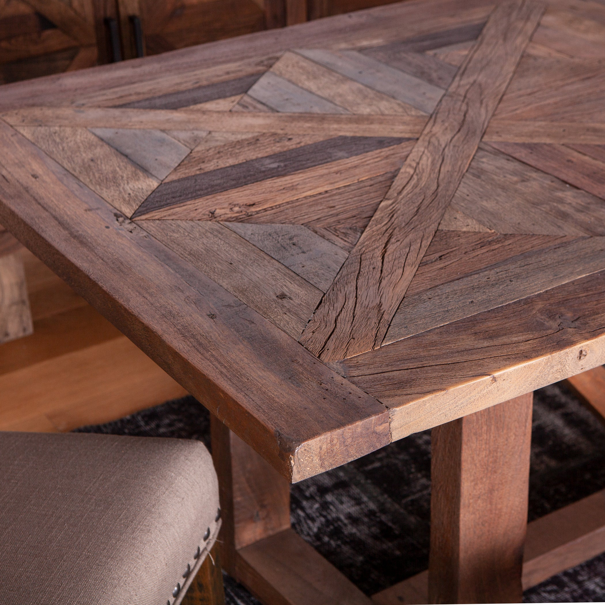 Rustic, Modern Farmhouse dining table - acacia and neem woods