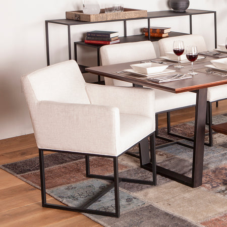 Brushed Cotton Upholstered Dining Chair - World Interiors