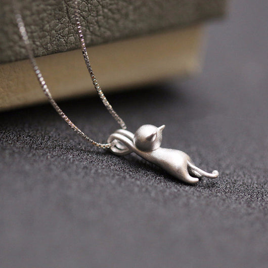 Sterling silver cat pendant necklace cool catitude sterling silver cat pendant necklace aloadofball Gallery