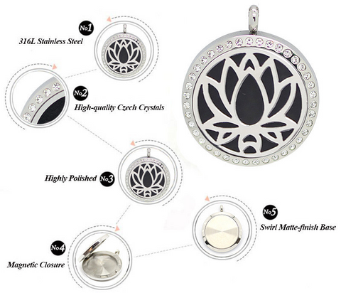 Lotus Flower Essential Oil Pendant