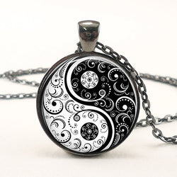 Yin Yang Gothic Floral Pendant Necklace