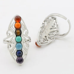 Butterfly 7 Chakra Stones Ring
