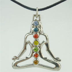 Buddha Pendant with 7 Chakra Crystals