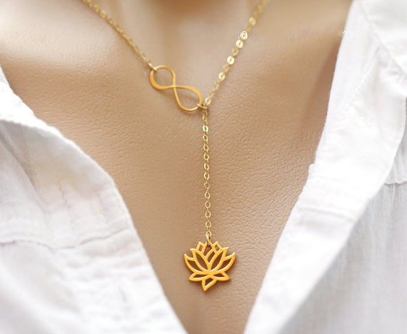 Infinity Lotus Flower Lariat Pendant Necklace