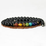 Black Agate Necklace with 7 Chakra Colored Beads
