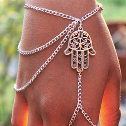 Hamsa Fatima Finger Bangle Chain Bracelet