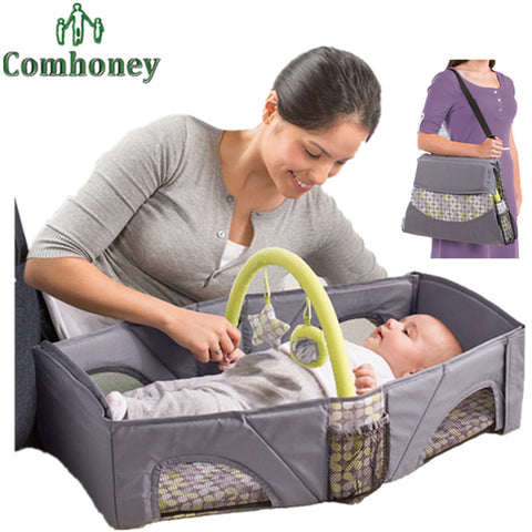 designer portable baby crib folding travel bed and changing table with shoulder strap from