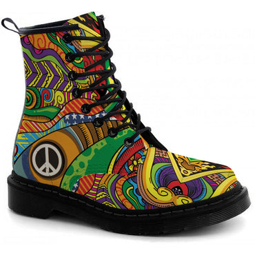 Colorful Hippie Boots - CustomKiks Shoes