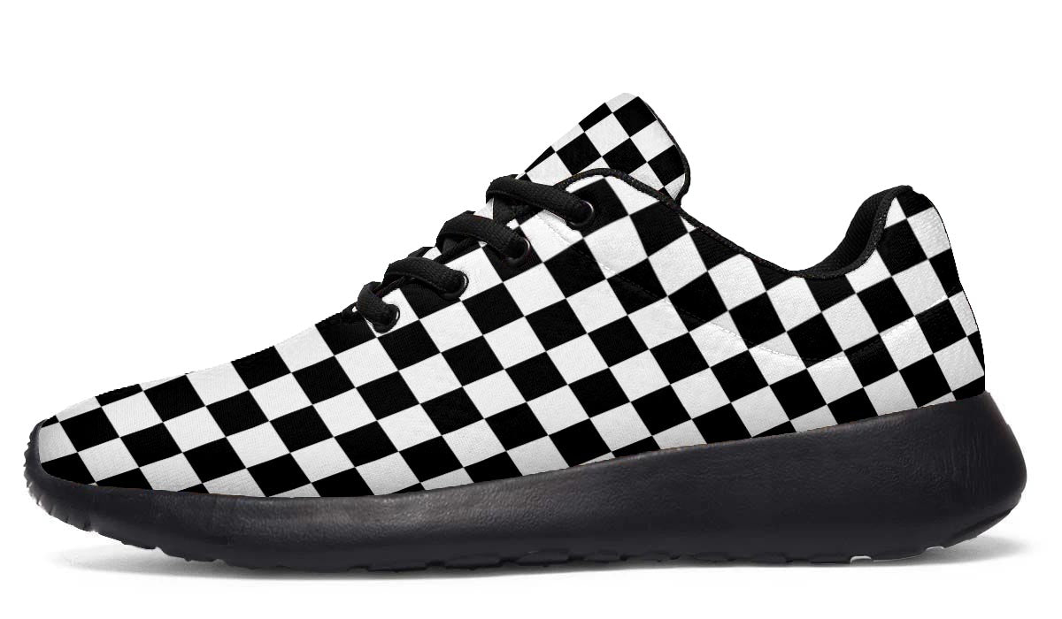 Checkmate - Black & White Checkered Sports Shoes - Black Soles