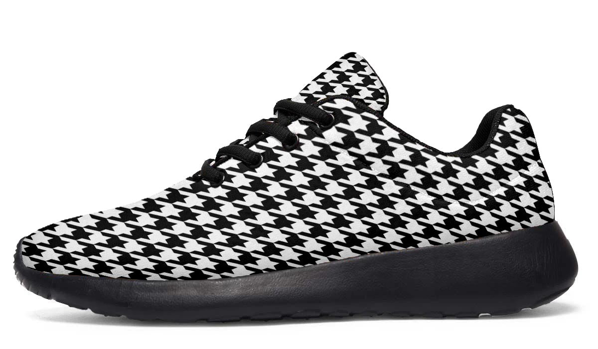 Classic Houndstooth Black and White Sneakers -Black Soles