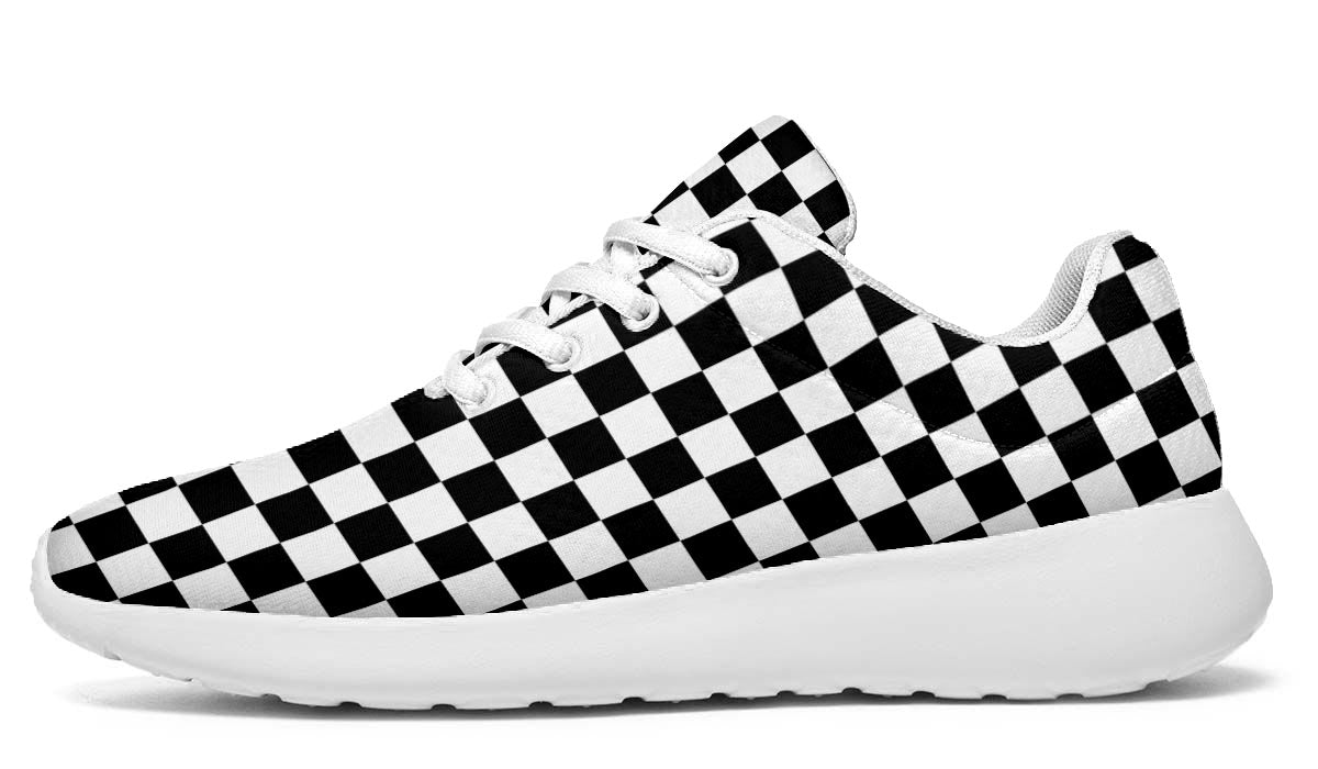 Checkmate - Black & White Checkered Sports Shoes - White Soles