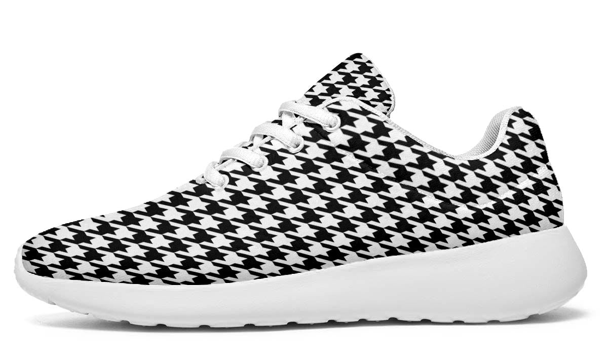 Classic Houndstooth Black and White Sneakers - White Soles