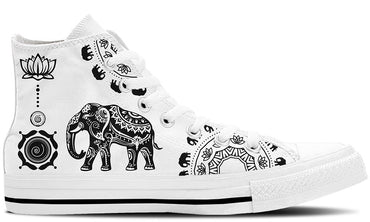 Ethnic Elephant White - CustomKiks Shoes