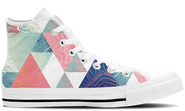 Triangles White - CustomKiks Shoes