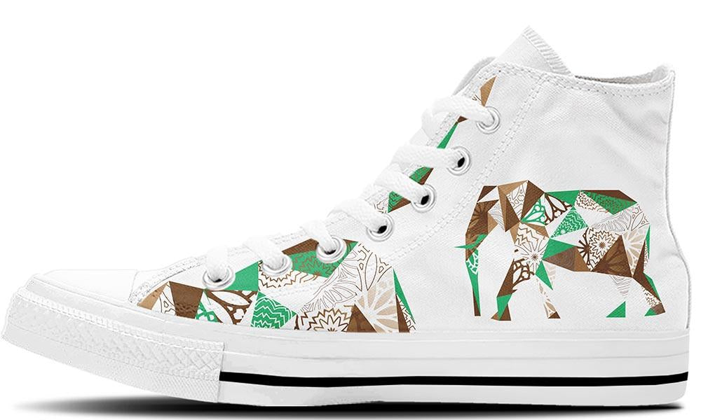 Mosaic Elephant White - CustomKiks Shoes