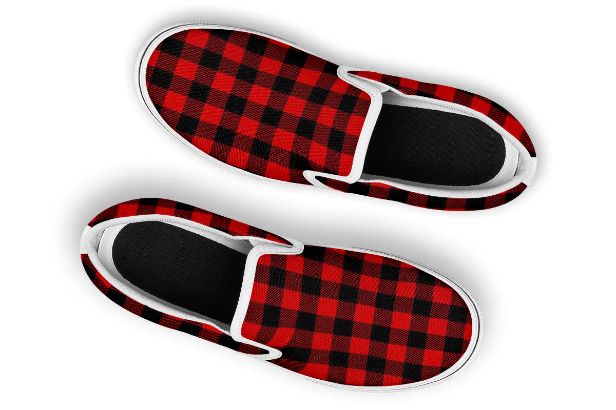 Red Plaid Slip Ons