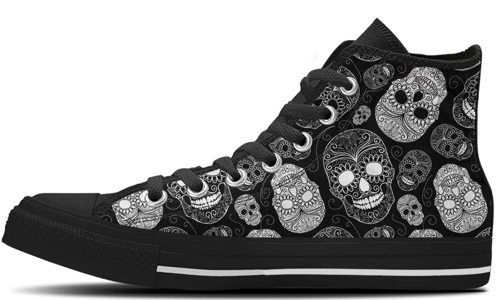 Sugar Skulls Black - CustomKiks Shoes