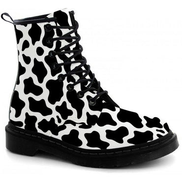 Cow Print Boots - CustomKiks Shoes