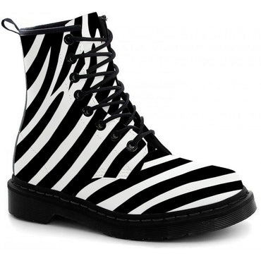 Zebra Print Boots - CustomKiks Shoes