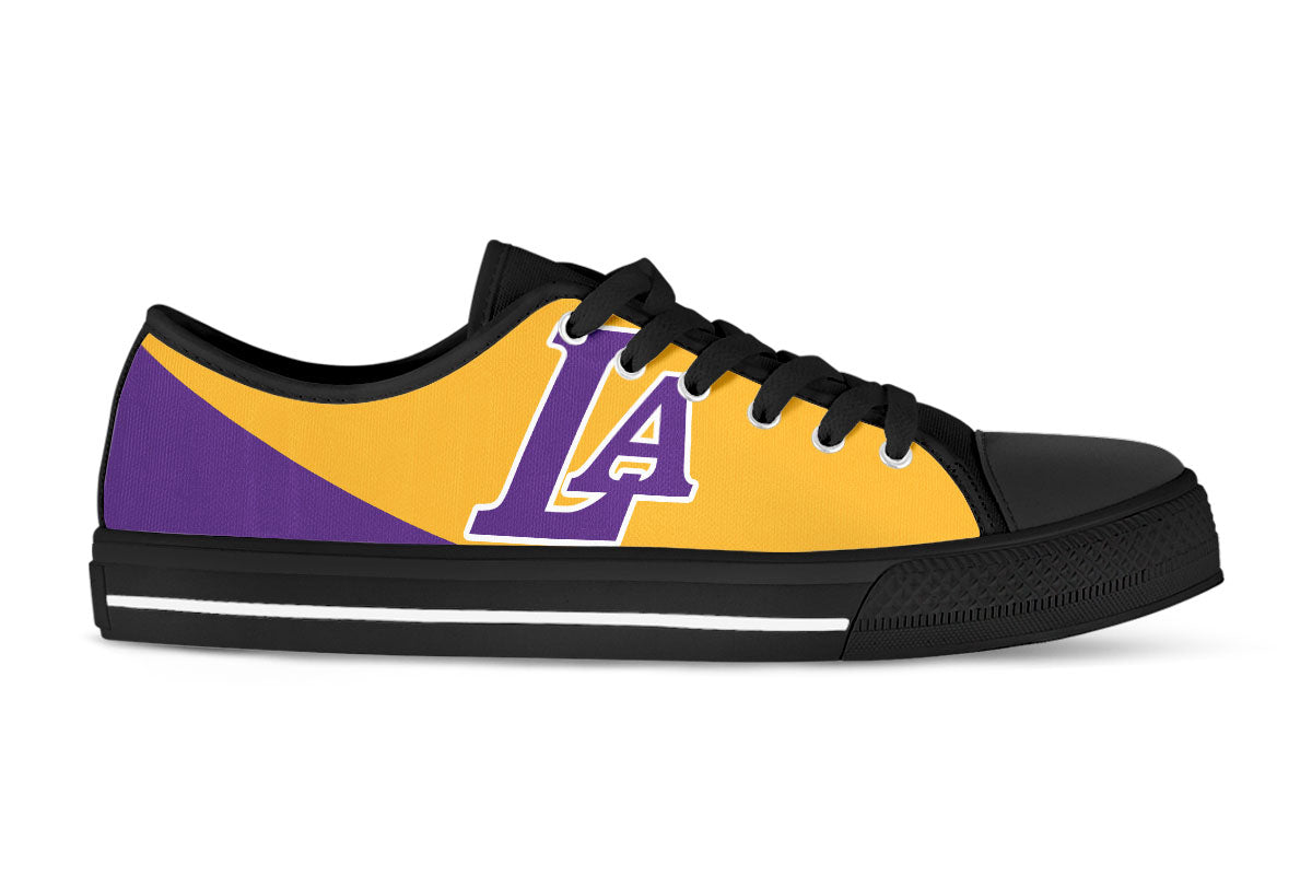 fe24a283f049 LA Lakers Shoes -Low Tops Custom Canvas Sneakers – CustomKiks.com