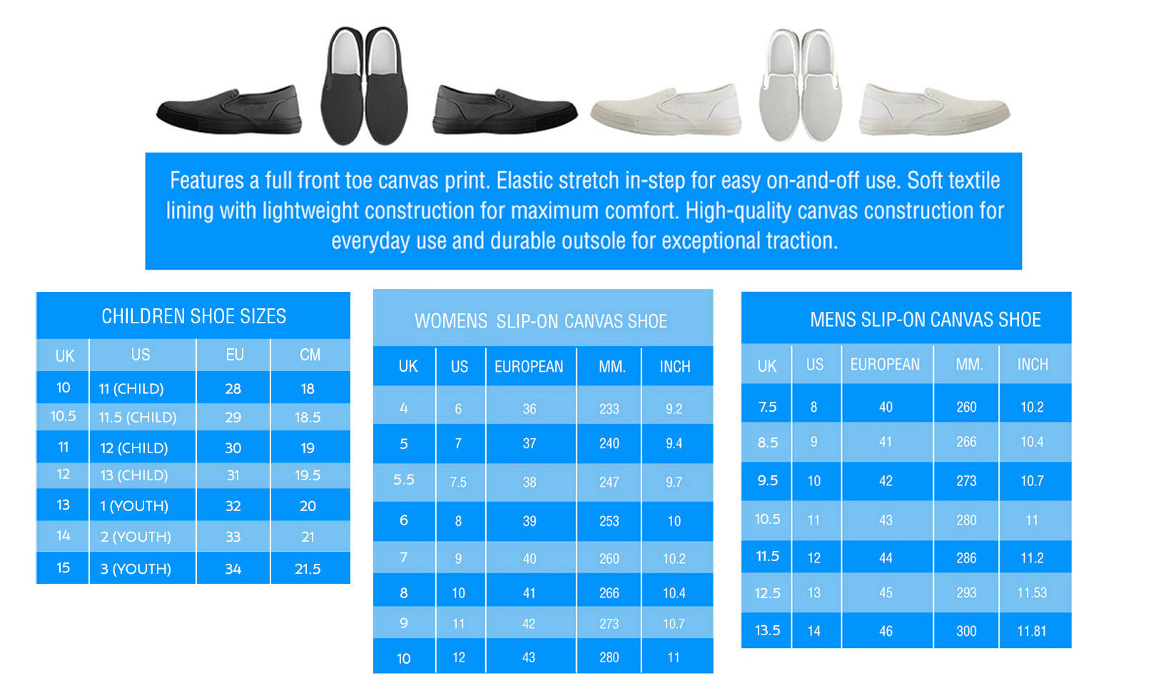 Slip-Ons Size Charts