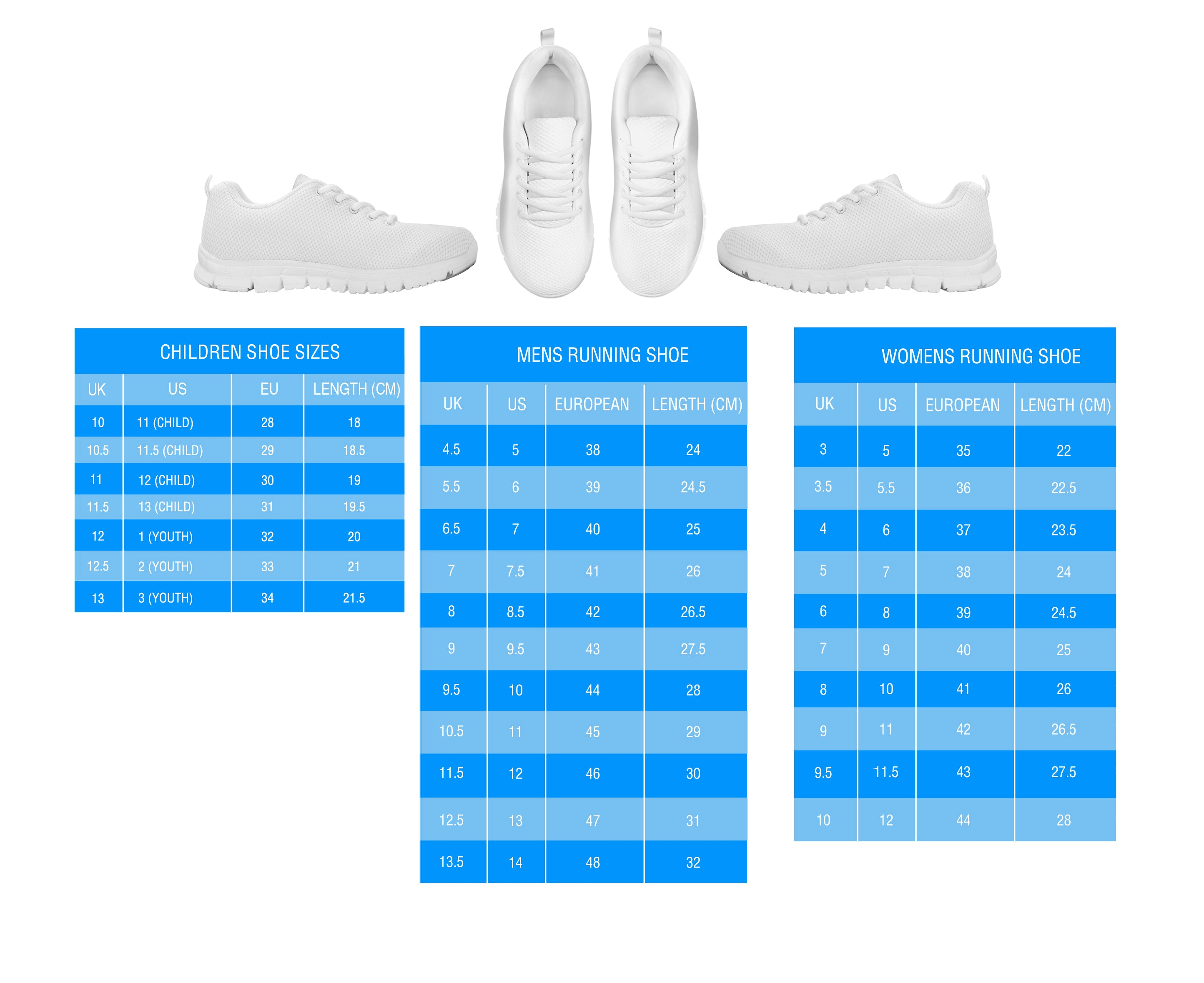 Sneakers Size Charts