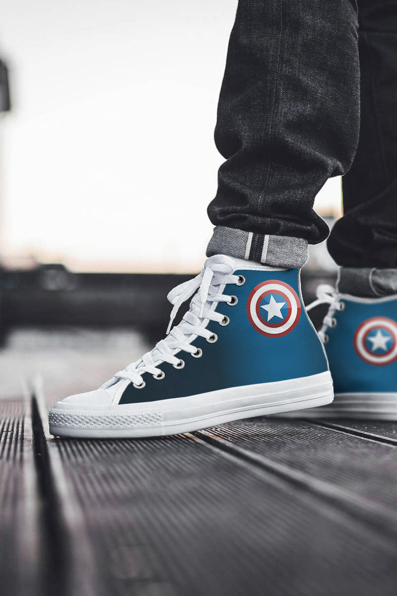 White USA High Top Shoes