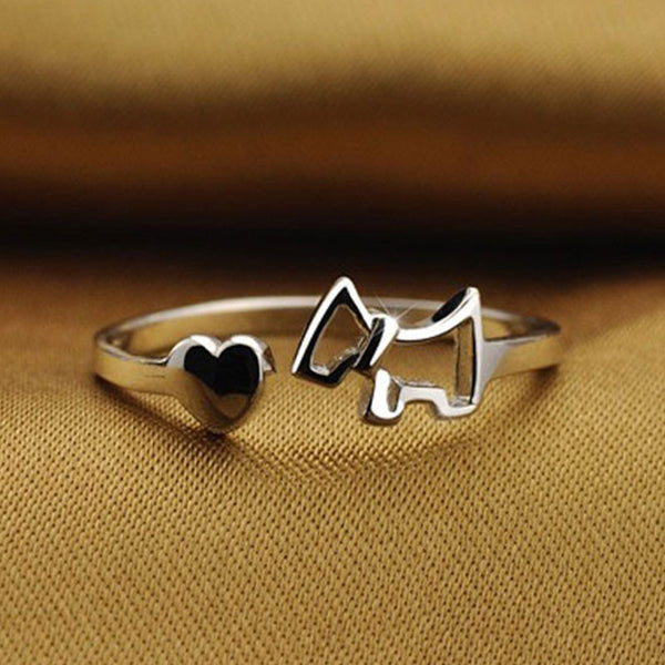 Sterling Silver Dog Open Ring