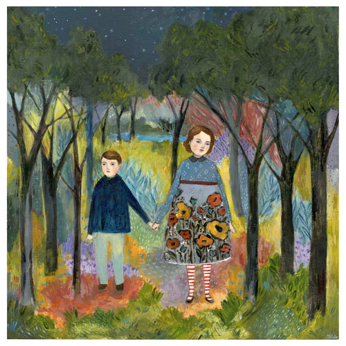 brother and sister holding hands in a colorful forest at night, oil painting