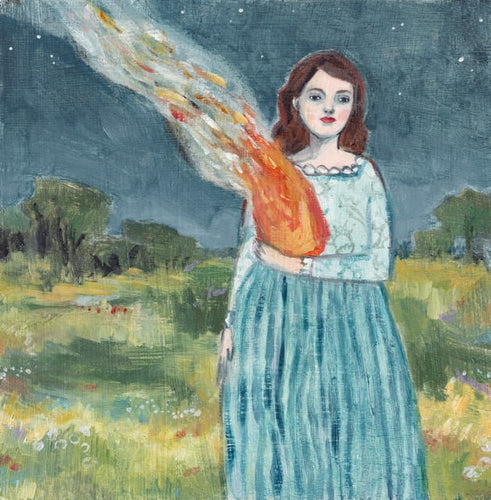 she let the flames guide her - print of original oil painting