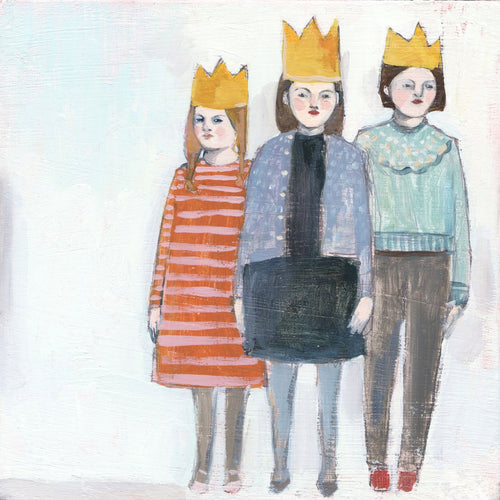 Three girls with crowns - print