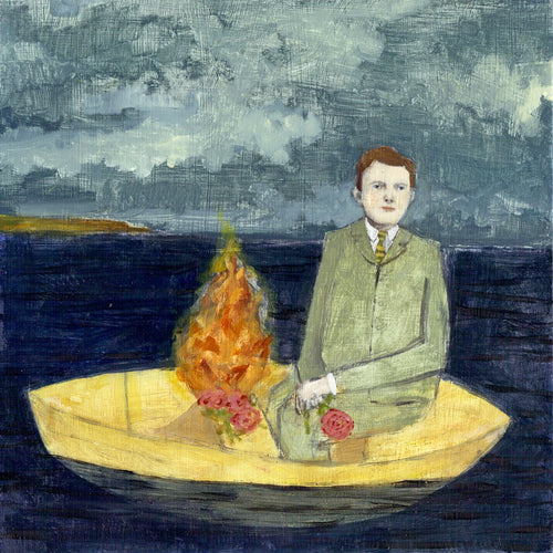 patrick set a fire to guide him on his journey - limited edition print of original oil painting