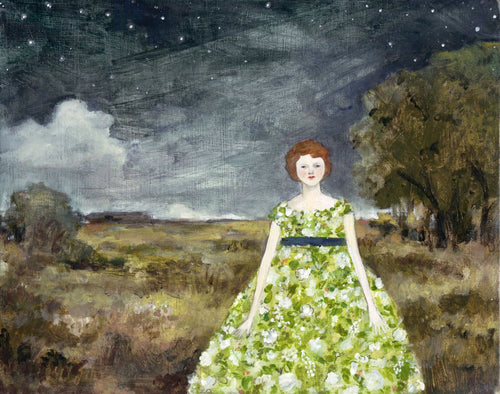 at night rebecca wore dresses of jasmine and primrose - limited edition print