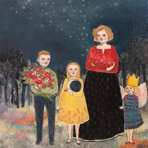 She wanted nothing more for them than the moon and stars, hope and beauty - giclee print of original oil painting