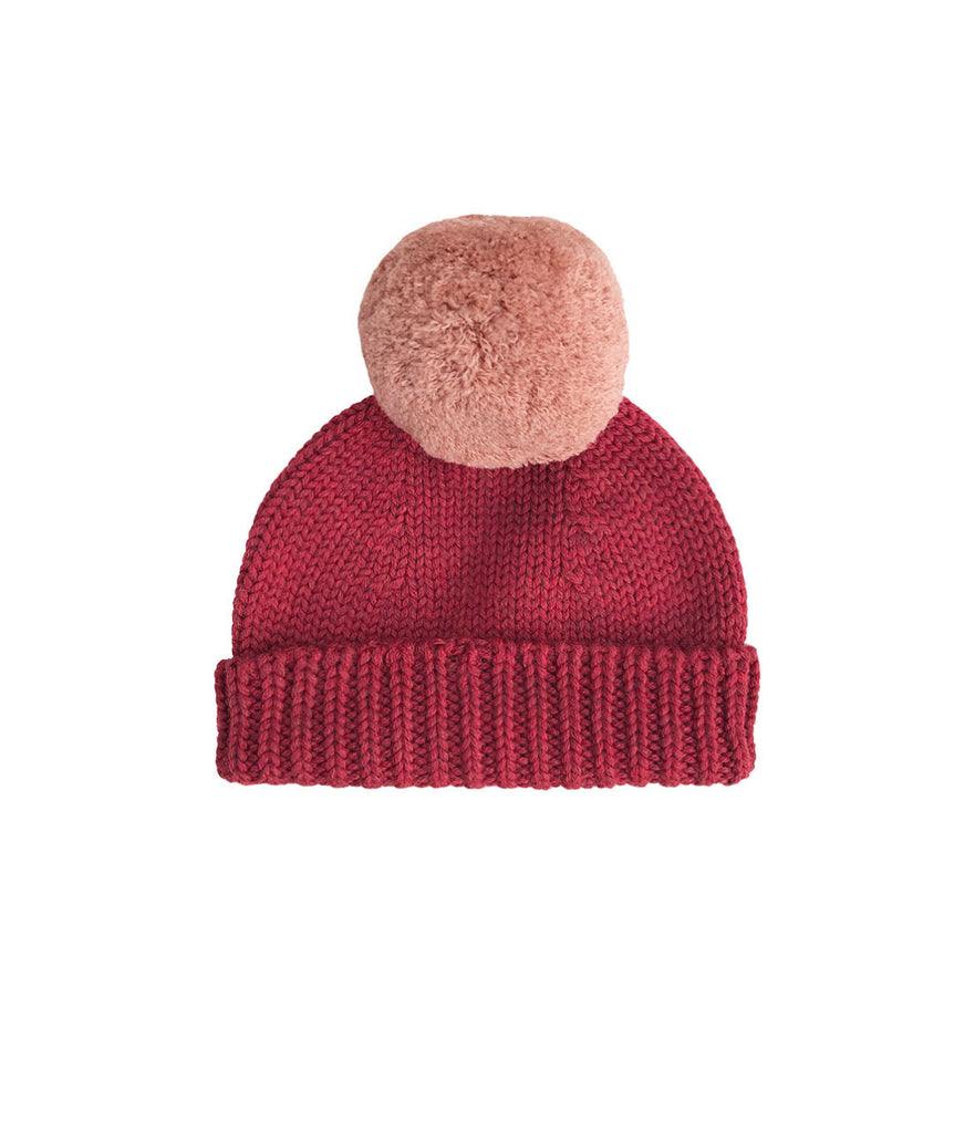 Merino Wool Bobble Hat - Madder/Rosewood