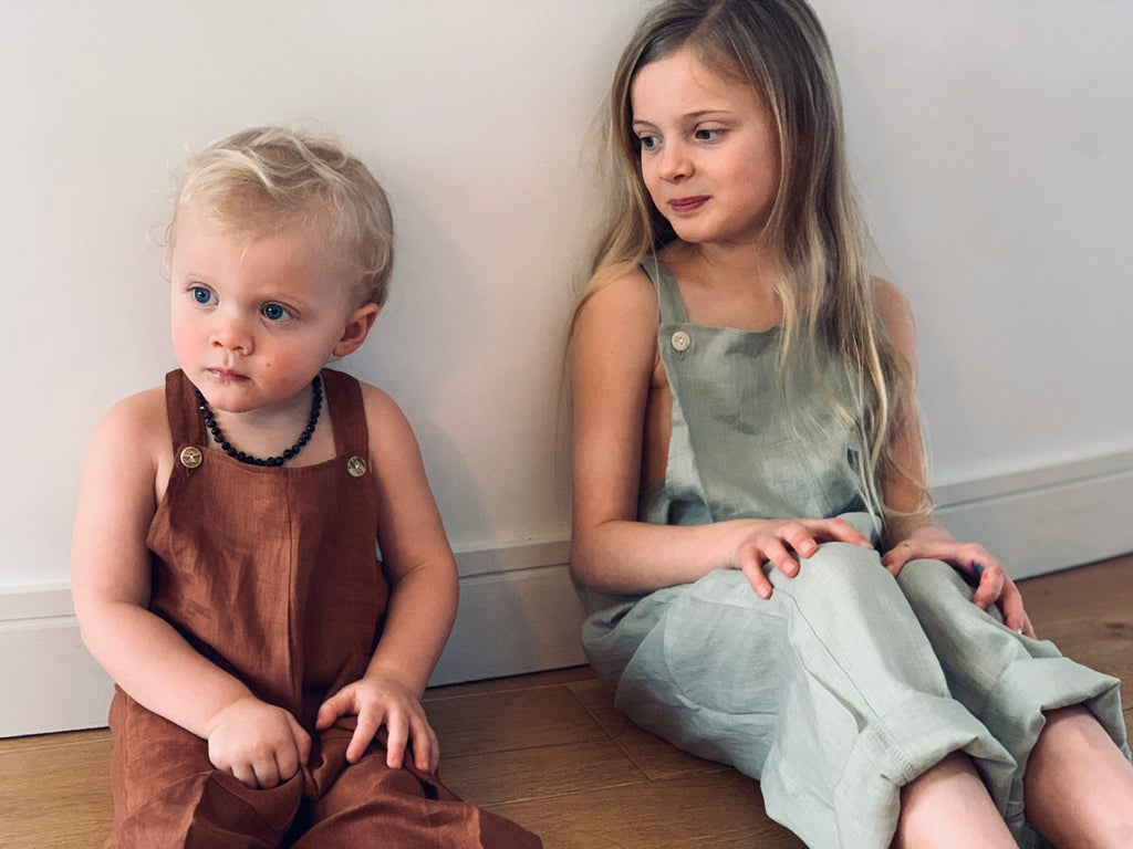 Summer and Storm long linen Dungarees in elm