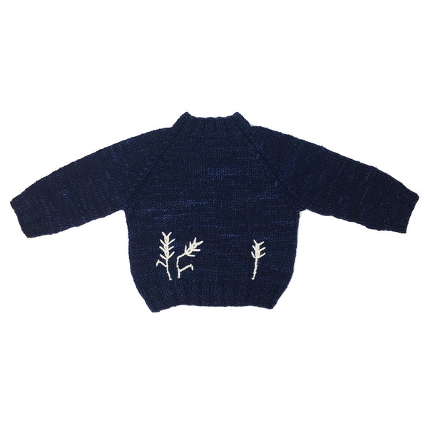 Merino Wool Naturally Dyed 'Gathering' Sweater in Blue