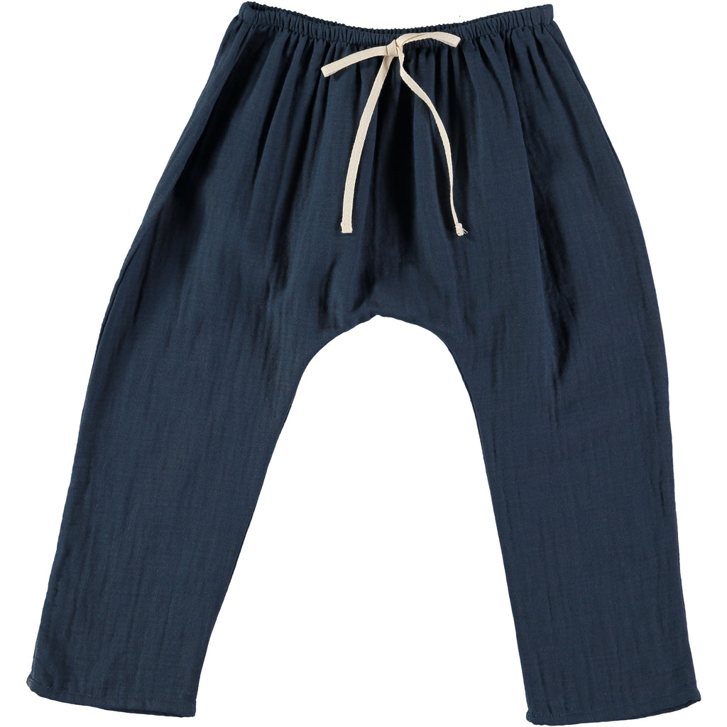 Organic cotton baggy pants in antra blue