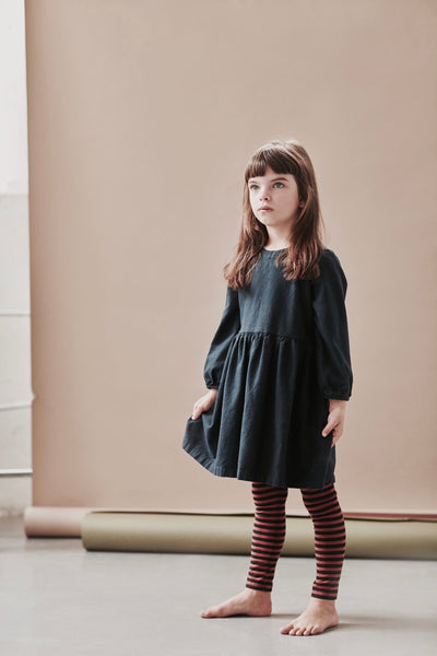 Navy Cotton Flannel Miranda Dress