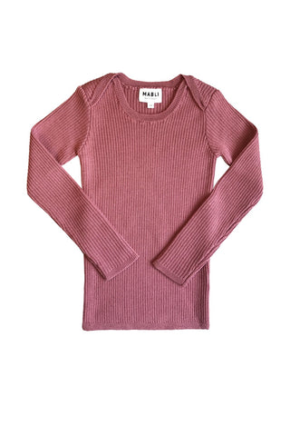 Extra Fine Merino Wool Ribbed Top- Antique Rose
