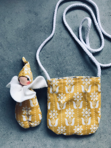 Pixie in a pouch yellow greys