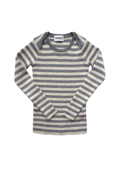 Extra Fine Merino Wool Ribbed Top - Blue/Hazlenut Stripe