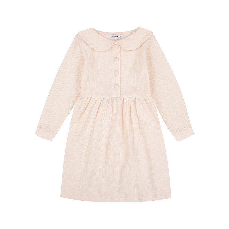 Long sleeved girls cotton gauze dress Minouche